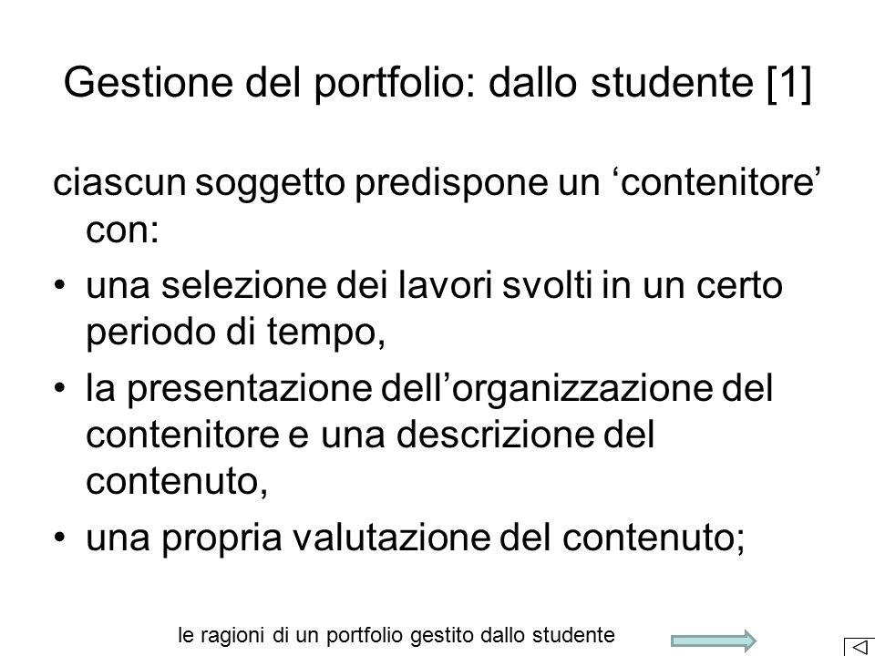 Gestione del portfolio: dallo studente [1]